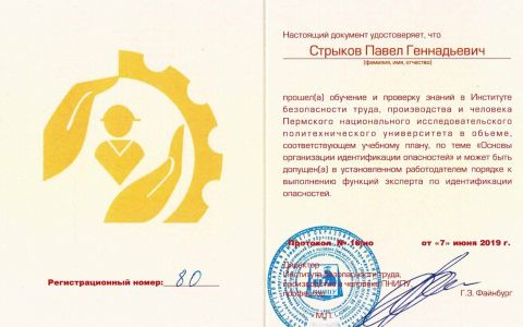 Удостоверение - идентификация опасностей (Стрыков П.Г.)